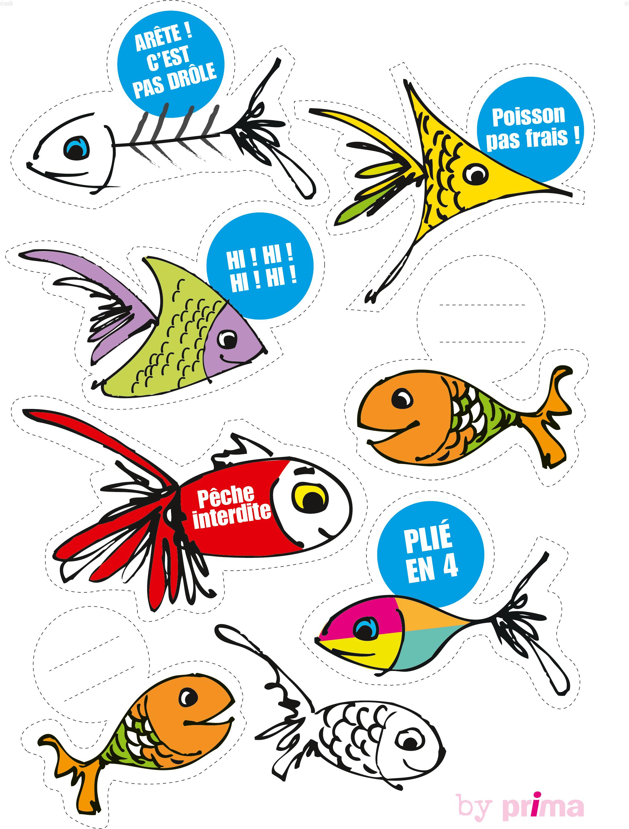 Des poissons d 39 avril imprimer femme actuelle le mag - Dessin poisson d avril rigolo ...