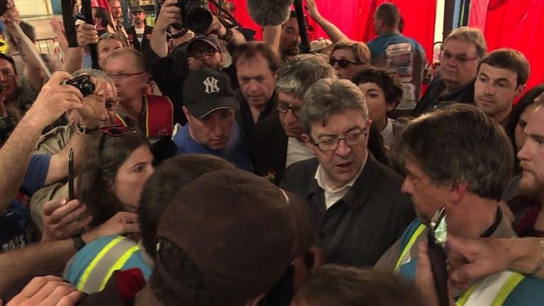 Mélenchon rend visite aux salariés de GM&S dans la Creuse