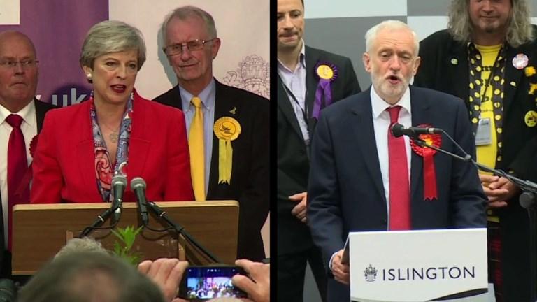 Grande-Bretagne: May et Corbyn réagissent aux résultats