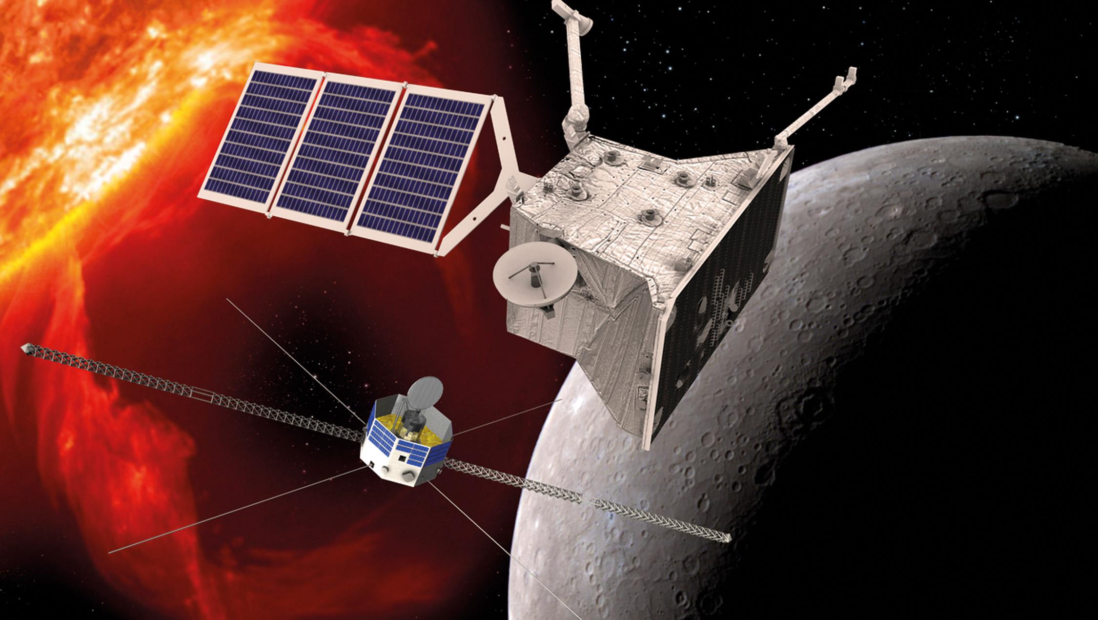 Le sonde européenne et le module japonais de la mission BepiColombo