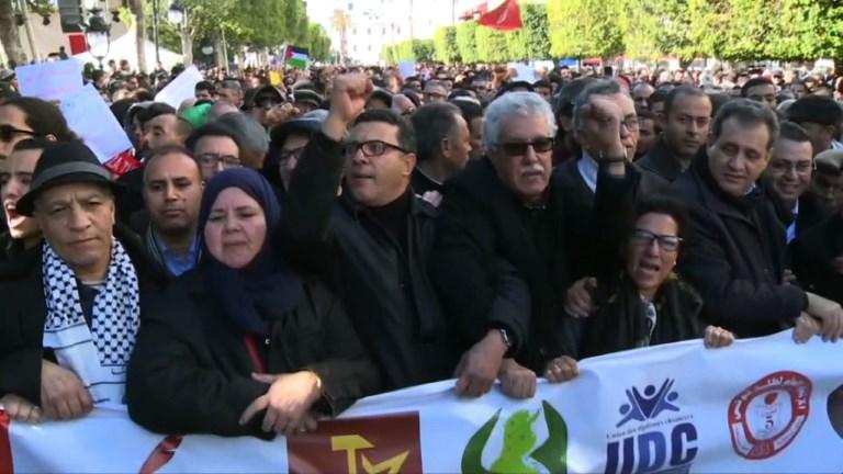 Tunis: manifestations au 7e anniversaire de la révolution