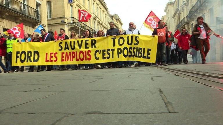 Bordeaux: mobilisation contre le retrait du constructeur Ford